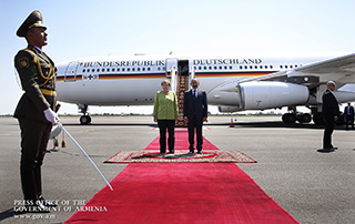 German Chancellor Angela Merkel arrives in Armenia on official visit