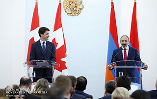 Armenian, Canadian Prime Ministers make statements summarizing the results of negotiations and answer journalists' questions