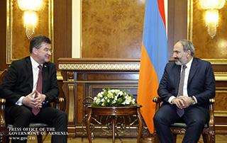 Nikol Pashinyan a reçu le Ministre slovaque des affaires étrangères, Président en exercice de l'OSCE, Miroslav Lajčák