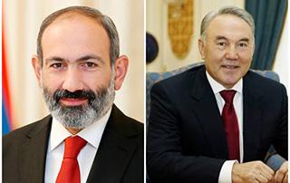 Le Premier ministre Nikol Pashinyan a eu une conversation téléphonique avec Noursoultan   Nazarbaïev