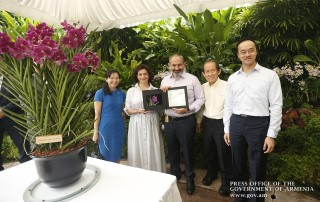 Nikol Pashinyan, Anna Hakobyan visit Singapore Botanic Gardens to attend new orchid variety naming ceremony