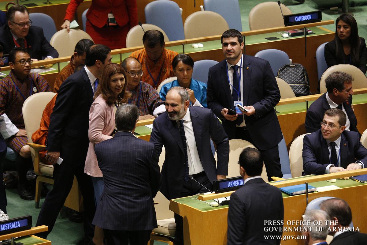 Премьер Армении Никол Пашинян выступит с речью на заседании Генассамблеи ООН